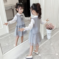 Dress Grey, pink female Other / other 110 (Size 110 for height 100cm), 120 (Size 120 for height 110cm), 130 (Size 130 for height 120cm), 140 (size 140 for height 130cm), 150 (size 150 for height 140cm), 160 (size 160 for height 150cm) Other 100% spring and autumn Korean version Long sleeves lattice