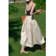 skirt Summer 2021 XS,S,M,L Picture color Mid length dress Versatile High waist A-line skirt Solid color Type A