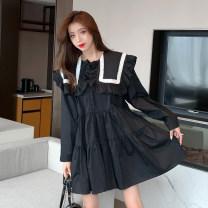 Dress Spring 2021 black Average size Short skirt singleton  Long sleeves commute Admiral Loose waist Socket Others 18-24 years old Type A Korean version Splicing