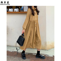 Dress Spring 2021 Dark Khaki white Average size longuette singleton  Long sleeves commute Polo collar Loose waist Solid color Single breasted A-line skirt routine Others 18-24 years old Han Zhuoxian Korean version Button 20TX0532 More than 95% other other Other 100% Exclusive payment of tmall