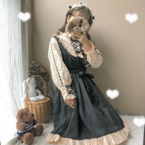Dress Winter of 2018 Apricot with black, headdress, apricot with black + headdress Average size Short skirt singleton  Long sleeves Sweet High waist zipper Others 18-24 years old Type A Other / other