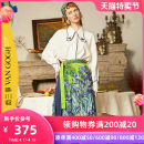 skirt Spring 2021 S M L Orange dark blue longuette Retro High waist Pleated skirt Decor Type A 18-24 years old S21CKBO12 More than 95% Two or three things polyester fiber Lace up printing Polyester 100% Same model in shopping mall (sold online and offline)
