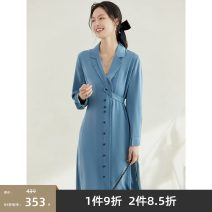 Dress Spring 2021 Blue t0 M L XL XXL longuette singleton  Long sleeves commute V-neck High waist Solid color Single breasted A-line skirt routine 30-34 years old Type A Levu'su / art elements Button E1SED031C 91% (inclusive) - 95% (inclusive) polyester fiber