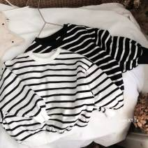 Sweater / sweater Other / other 30706 black, 30706 white neutral 80cm,90cm,100cm,110cm,120cm,130cm,140cm spring and autumn nothing leisure time Socket There are models in the real shooting cotton stripe