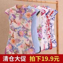 cheongsam Cotton 97% polyurethane elastic fiber (spandex) 3% No model summer Broken flowers Pure cotton (95% and above) Class B Chinese Mainland
