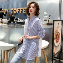 shirt S M L XL XXL Autumn 2020 cotton 96% and above Long sleeves Original design Medium length Polo collar Single row multi button routine stripe 25-29 years old Straight cylinder Qianzhen Lace up asymmetric button Cotton 100% Same model in shopping mall (sold online and offline)