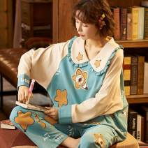 Pajamas / housewear set female Xu Jia M L XL XXL LM - 69008 LM - 69009 LM - 69010 LM - 69011 LM - 69012 LM - 69013 LM - 69015 LM - 69017 LM - 69018 LM - 69019 LM - 69020 LM - 69001 LM - 69004 LM - sixty-nine thousand and five silk Long sleeves Cotton 80% other 20% Winter 2021