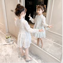 Dress white female Tagkita / she and others 90cm,100cm,110cm,130cm,140cm Cotton 55% viscose 45% spring and autumn Korean version Long sleeves Solid color other Pleats Huangpu Class C Chinese Mainland Anhui Province Anqing City