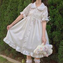 Dress Summer 2020 Fairy white M, L Mid length dress singleton  Short sleeve