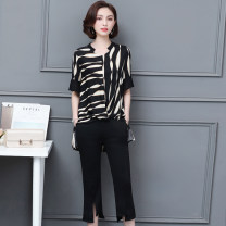 Women's large Summer of 2019 black L XL 2XL 3XL 4XL 5XL Other oversize styles Two piece set commute easy Socket elbow sleeve stripe Korean version Medium length routine MBQ2019XJM-035-A-3988 Maiba Qi 30-34 years old pocket Other 100% Pure e-commerce (online only) Cropped Trousers