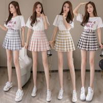 skirt Spring 2020 S M L XL 2XL Short skirt Versatile High waist Pleated skirt lattice Type A 91% (inclusive) - 95% (inclusive) Classic of the times polyester fiber Polyester 95% polyurethane elastic fiber (spandex) 5%