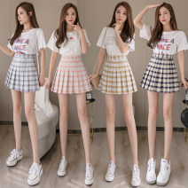 skirt Spring 2020 S M L XL 2XL Short skirt Versatile High waist Pleated skirt lattice Type A 91% (inclusive) - 95% (inclusive) Classic of the times polyester fiber Polyester 95% polyurethane elastic fiber (spandex) 5%