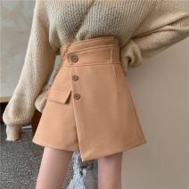 Casual pants Black, Khaki S,XL,L,M Winter 2020 shorts Straight pants High waist commute thickening 18-24 years old 71% (inclusive) - 80% (inclusive) other belt