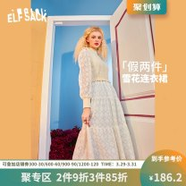 Dress Spring 2021 Lady off white lady off white a M Mid length dress singleton  Long sleeves Sweet Crew neck High waist other other other routine 18-24 years old Type H Goblin's pocket Splicing 1110_ AL0025A More than 95% other Other 100% princess Same model in shopping mall (sold online and offline)