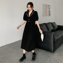 Dress Spring 2021 Black, pink Average size Mid length dress singleton  Short sleeve commute Elastic waist Socket Big swing routine 18-24 years old Korean version 51% (inclusive) - 70% (inclusive) other other