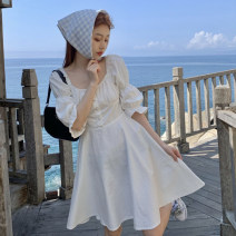 Dress Summer 2021 white Average size Short skirt singleton  commute High waist Solid color Socket other puff sleeve 18-24 years old Korean version 51% (inclusive) - 70% (inclusive)