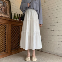 skirt Summer 2021 Average size White, black longuette commute High waist Cake skirt Solid color Type A 18-24 years old 31% (inclusive) - 50% (inclusive) other Korean version