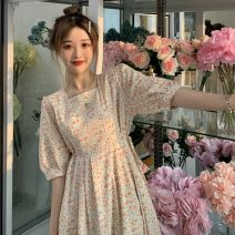 Dress Summer 2021 Orange, blue Average size Mid length dress singleton  Short sleeve commute square neck Elastic waist Broken flowers Socket A-line skirt other 18-24 years old Korean version Hollowing out 31% (inclusive) - 50% (inclusive)