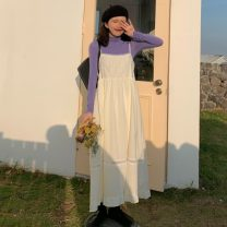 Dress Spring 2021 Base coat, halter skirt Average size longuette Two piece set Sleeveless commute One word collar Solid color camisole 18-24 years old Type A Korean version 31% (inclusive) - 50% (inclusive)