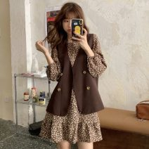 Dress Spring 2021 Brown vest, black vest, brown dress, black dress Average size Short skirt Two piece set Long sleeves commute Crew neck other routine Others 18-24 years old Other / other Korean version 51% (inclusive) - 70% (inclusive)