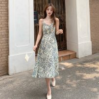 Dress Summer 2021 Skirt, suspender dress S, M Mid length dress singleton  Sleeveless commute V-neck High waist Broken flowers A-line skirt camisole 18-24 years old Type A Korean version 31% (inclusive) - 50% (inclusive) other other