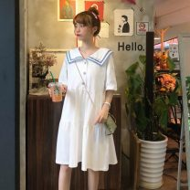 Dress Summer 2021 White, purple, green, blue, yellow, black, pink S,M,L Middle-skirt singleton  Short sleeve commute Doll Collar Loose waist other Socket A-line skirt routine Others 18-24 years old Type A Korean version 51% (inclusive) - 70% (inclusive)