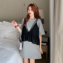 Dress Spring 2021 Grey, white Average size Short skirt Fake two pieces Short sleeve commute Crew neck Loose waist Socket 18-24 years old Type H Korean version 51% (inclusive) - 70% (inclusive) other