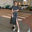 Dress Summer 2021 Gray, black Average size Mid length dress singleton  Short sleeve commute Crew neck Elastic waist Solid color Socket A-line skirt routine 18-24 years old Type A Korean version Pleating 31% (inclusive) - 50% (inclusive)