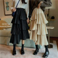skirt Winter of 2019 Average size Apricot, black Mid length dress commute High waist Cake skirt 18-24 years old 71% (inclusive) - 80% (inclusive) Other / other Korean version