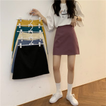 skirt Summer 2020 S,M,L Apricot, purple, green, blue, yellow, black Short skirt commute High waist A-line skirt Solid color Type A 18-24 years old 31% (inclusive) - 50% (inclusive) cotton Korean version