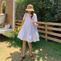 Dress Summer 2020 white S, M Short skirt singleton  Short sleeve commute Polo collar middle-waisted Single breasted routine 18-24 years old Type A Korean version 81% (inclusive) - 90% (inclusive) cotton