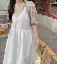 Dress Summer 2021 Pink shirt, purple shirt, apricot shirt, apricot skirt, white skirt Average size Mid length dress Two piece set commute Crew neck Loose waist Solid color Socket Big swing routine 18-24 years old Type A Retro 31% (inclusive) - 50% (inclusive) other