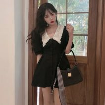 Dress Summer 2021 black S, M Short skirt singleton  Short sleeve commute Doll Collar High waist Socket A-line skirt other 18-24 years old Type A Korean version 51% (inclusive) - 70% (inclusive) other other