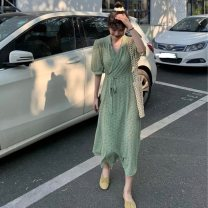 Dress Summer 2021 Picture color Average size Mid length dress singleton  Short sleeve commute Elastic waist Broken flowers Socket Big swing 18-24 years old Korean version 51% (inclusive) - 70% (inclusive) other other