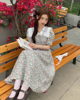 Dress Summer 2021 Picture color Average size longuette singleton  Short sleeve commute V-neck High waist Broken flowers Big swing puff sleeve 18-24 years old Type A Korean version 31% (inclusive) - 50% (inclusive)
