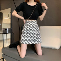 skirt Summer 2021 S,M,L White, black Short skirt commute High waist A-line skirt Solid color Type A 18-24 years old 31% (inclusive) - 50% (inclusive) zipper Korean version