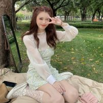 Dress Summer 2021 Green, blue, chiffon S. M, l, average size Short skirt Two piece set Long sleeves commute V-neck High waist Decor zipper other camisole 18-24 years old Type H Korean version 31% (inclusive) - 50% (inclusive) other