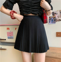 skirt Spring 2021 Average size White, black Short skirt commute High waist Pleated skirt Solid color Type A 18-24 years old 31% (inclusive) - 50% (inclusive) other fold Korean version