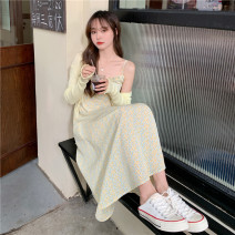 Dress Summer 2021 Yellow cardigan , White knitted cardigan , Yellow floral suspender skirt , Red floral suspender skirt Average size longuette Two piece set Long sleeves commute other High waist Decor Socket other routine camisole 18-24 years old Type A Korean version