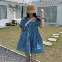 Dress Spring 2021 blue Average size singleton  Short sleeve commute square neck Solid color Socket other 18-24 years old Other / other Korean version 51% (inclusive) - 70% (inclusive) other