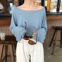 T-shirt Ginger, apricot, black, milk white, electric blue, diamond blue, lake blue, fruit green, milk coffee Average size Summer of 2019 Long sleeves Crew neck easy Regular other commute polyester fiber 51% (inclusive) - 70% (inclusive) 18-24 years old Korean version Solid color Other / other