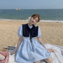Dress Summer 2021 White, blue, yellow Average size Middle-skirt singleton  Short sleeve commute Crew neck High waist Solid color Socket routine 18-24 years old Type H Korean version 31% (inclusive) - 50% (inclusive)