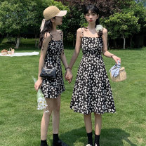 Dress Summer 2021 8540 short 8539 long Average size Short skirt singleton  Sleeveless commute square neck High waist Solid color Socket A-line skirt routine camisole 25-29 years old Type X Shu Yu Korean version Bandage printing XF8539 - eight thousand five hundred and forty # More than 95% brocade