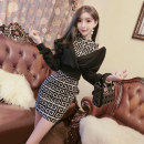 Dress Autumn 2020 Black Brown S M L Short skirt Two piece set Long sleeves commute Crew neck High waist other Socket One pace skirt routine Others 25-29 years old Type X Shu Yu Korean version Fold asymmetry YJRA0715# More than 95% brocade polyester fiber Other polyester 95% 5%