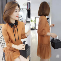 Dress Spring 2021 Orange S M L Mid length dress singleton  Long sleeves commute other Loose waist other other A-line skirt other Others 30-34 years old Type A bobowaltz Korean version B191y02126p01519 More than 95% polyester fiber Polyester 100% Pure e-commerce (online only)
