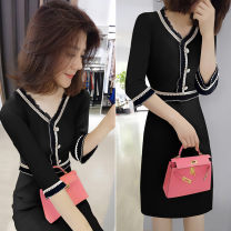 Dress Spring 2021 black S M L XL Middle-skirt singleton  three quarter sleeve commute V-neck High waist Solid color Socket A-line skirt other Others 30-34 years old Type A bobowaltz Korean version BA203v03706p0130 81% (inclusive) - 90% (inclusive) polyester fiber Pure e-commerce (online only)