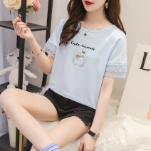 T-shirt 2988 ᦇ blue deer 2988 ᦇ white deer 2988 ᦇ pink deer S M L XL 2XL 3XL Summer 2020 Short sleeve Crew neck easy Regular routine commute polyester fiber 86% (inclusive) -95% (inclusive) letter Beilang Fawn Polyester 95% polyurethane elastic fiber (spandex) 5% Pure e-commerce (online only)