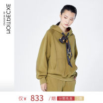 Sweater / sweater Autumn 2020 Army green 34Y 36Y 38Y Long sleeves routine Socket singleton  routine Hood easy commute routine Solid color 25-29 years old 96% and above Exception / exception Simplicity cotton A120-P3D03 Printed Drawstring cotton Cotton liner Cotton 100%