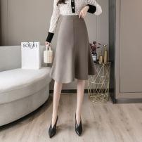 skirt Spring 2021 S,M,L,XL Black, apricot, brown Mid length dress High waist A-line skirt Chain, solid