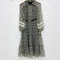 Dress Spring 2021 Decor S,M,L Mid length dress singleton  Long sleeves commute Doll Collar Decor routine More than 95%